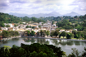 Kandy city in the northern part of Sri Lanka's hill country