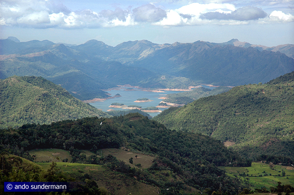 view to Randenigala reservoir in the Mahaweli valley, with Knuckles Range in the background