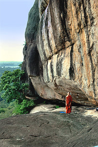 rock shelters at the southern escarpment of Madagama Kanda Viharaya in Sri Lanka