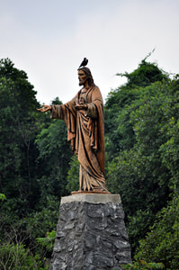 Jesus statue in the marshland of Muthurajawela