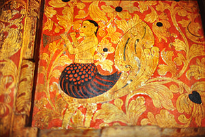 14th century painting of a trumpeting Kinnara in te Gadaladeniya Viharaya