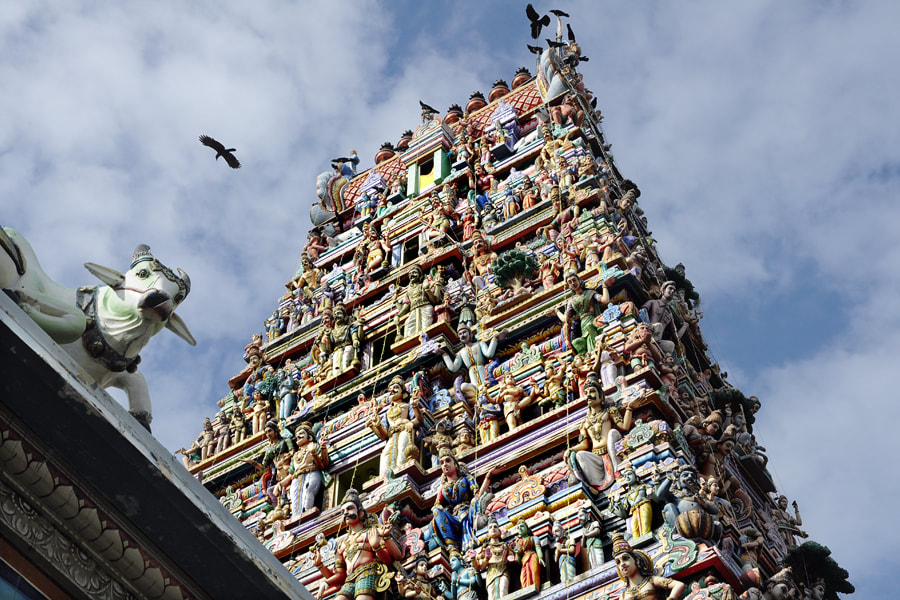 Gopuram tower of Captain's Garden Hindu temple in Colombo