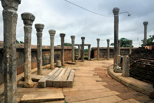 pillars in the interior of the Vatadage of Thiriyai near Trincomalee