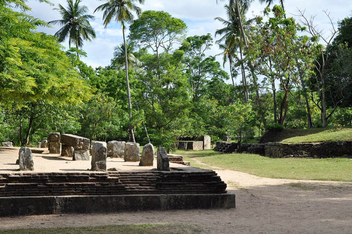 ruins in the citadel of Yapahuwa at the base of the stairway