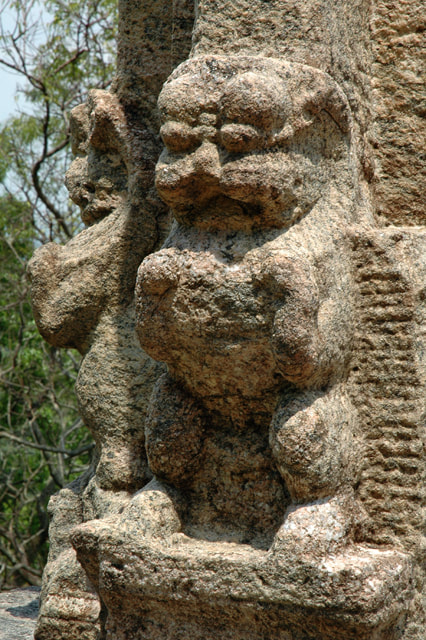 lion figures at a column in Yapahuwa