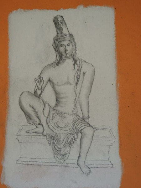 drawing of the golden Avalokiteshvara statuette found in Veheragala