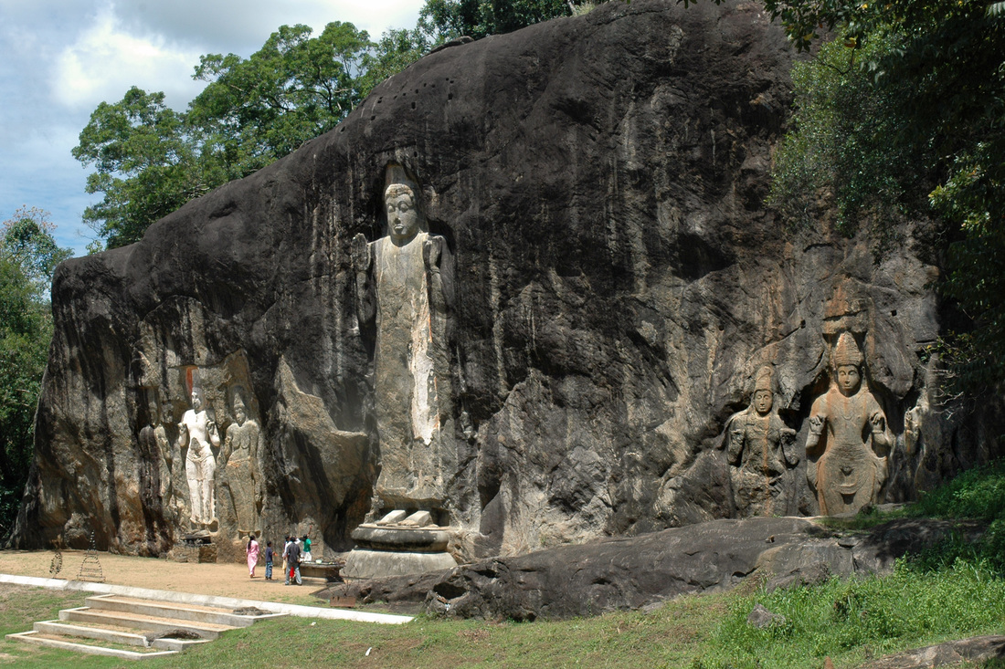 Buduruwagala rock-cut statues in Sri Lanka