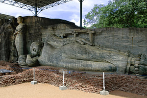 Gal Vihara group of rock-cut Buddhas in Polonnaruwa