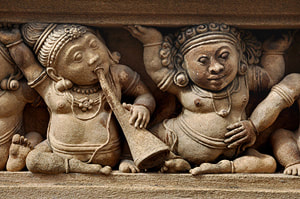 carved Gana musicians at the Kelaniya Temple