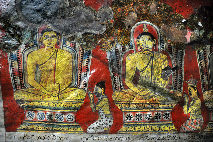 Buddhas in heaven painted in a Mulkirigala cave