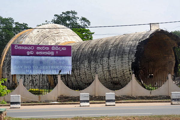 water tower of Kilinochchi blown up in Sri Lanka's civil war