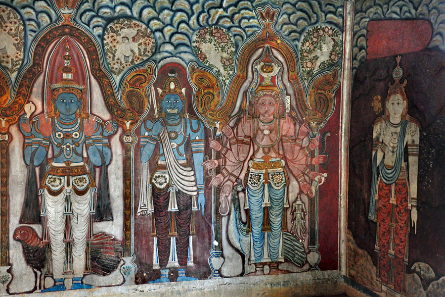 depictions of four deities in the first cave of Mulkirigala