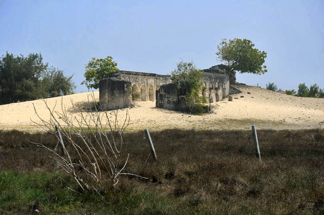 ruins of St Anthony's church in the sand dunes of Manalkadu