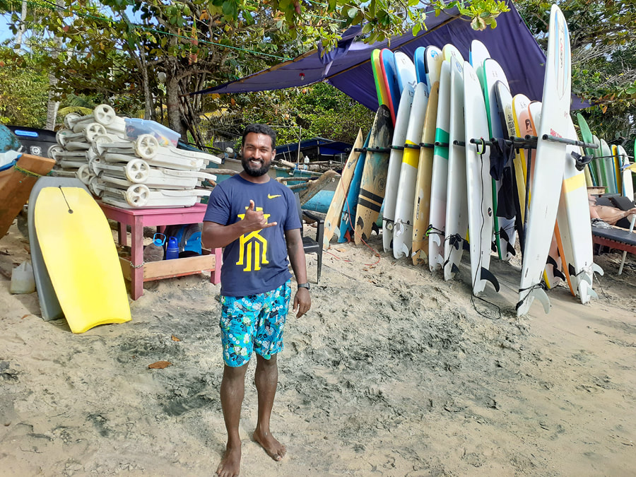 surf instructor in Hiriketiya in southern Sri Lanka