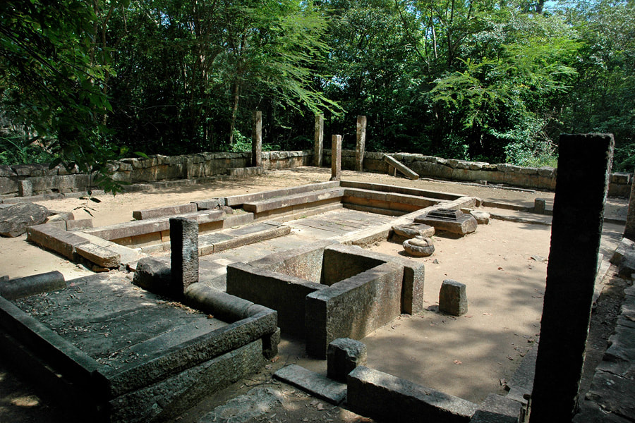 ruins of an ancient Ayurveda hospital in Ritigala in Sri Lanka