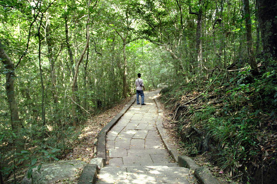 ancient paved meditation path in Ritigala