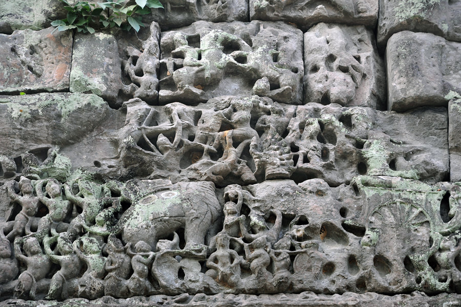battle of Lanka on a lintel relief in the Preah Khan temple in Angkor in Cambodia