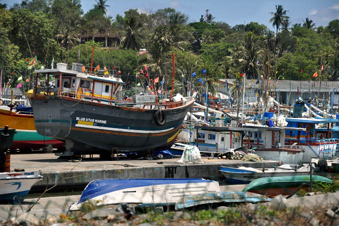 fishing port of Tangalle in southern Sri Lanka